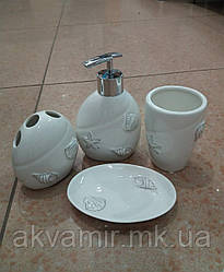 Набор аксессуаров для ванной BEACH BISK (Польша): дозатор, подставка для зубных щеток, стакан, мыльница