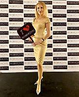 Платье коктейльное Perspective бежевое золотистое, фото 1