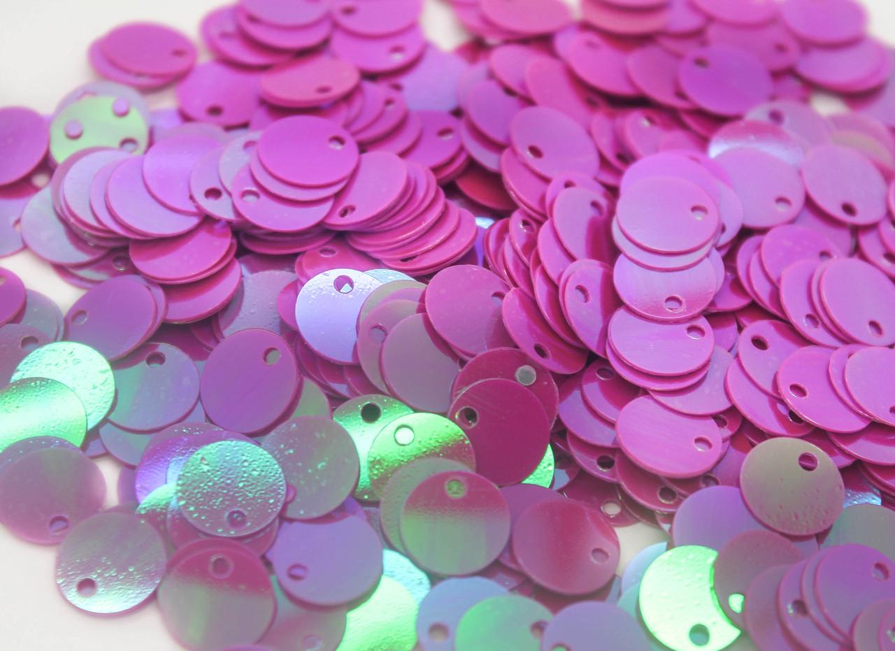 Пайетки круглые Хамелеон. Диаметр 8 мм. Цвет Пурпурно-розовый. В упаковке 25г.