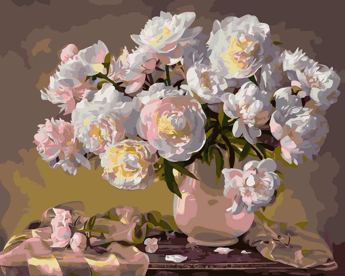 Картина по номерам Белые пионы 31166 40*50