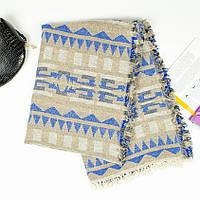 Шарф-плед индийский серый с синим