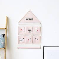 Органайзер настенный для хранения Розовый Фламинго (39 х 40 см. / 6 ячеек) Berni
