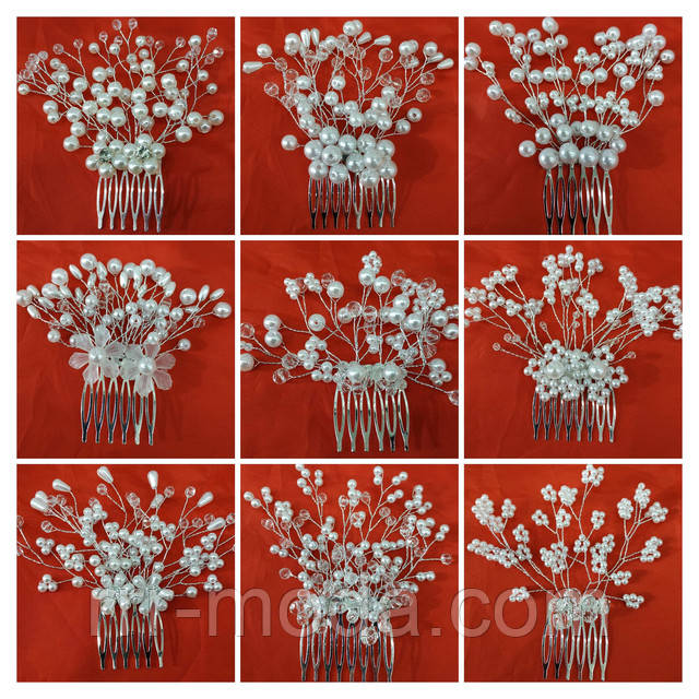 Фото презентация плетенных свадебных гребешков оптом, плетенные свадебные гребни, фото