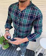 Мужская демисезонная Рубашка длинная на пуговицах в полоску клетку