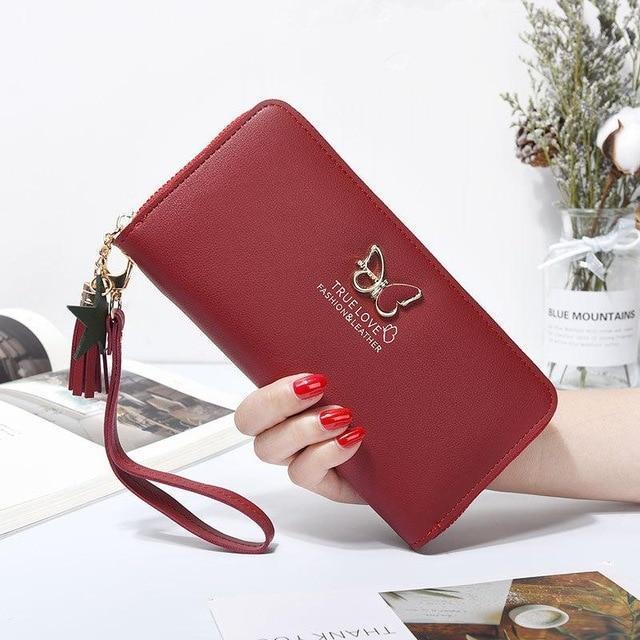 Бордовый женский кошелек-клатч на молнии код 326