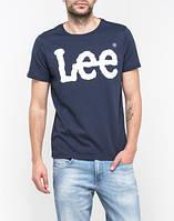 Мужская футболка Lee,мужская футболка Ли, спортивная, брендовая, хлопок, синяя, размеры: ХС-ХХХЛ