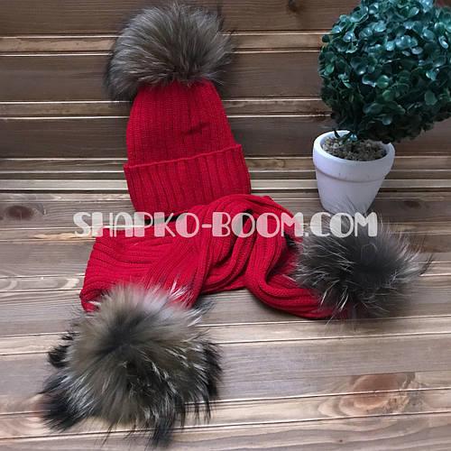 Детская зимняя вязанная шапка и шарф с натуральными бубонами енота на флисе