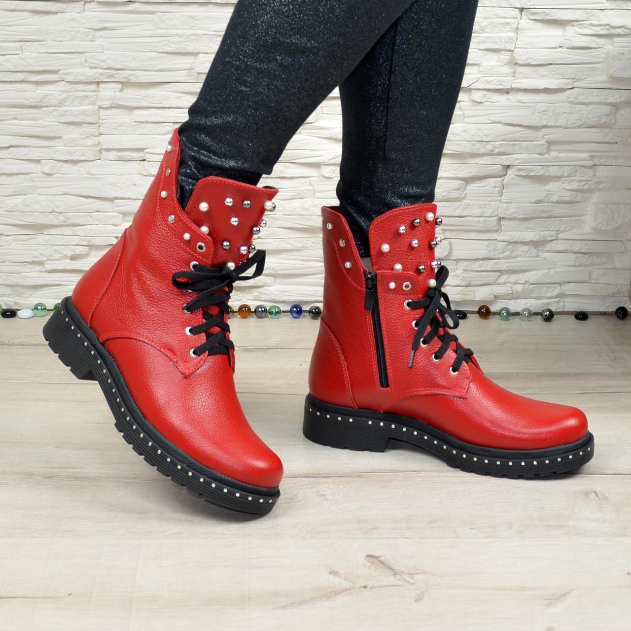 Ботинки на утолщенной подошве, на шнурках, из натуральной кожи флотар красного цвета
