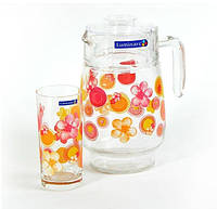 Lum.Bubbles Flowers Pink.Набір/вода(глеч.1,6л,склян.270мл-6шт)-7пр.Е