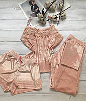 Женская пижама тройка шорты майка штаны