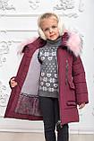 Зимове пальто на дівчинку, марсала, 122-146, фото 4