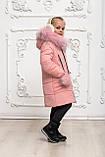 Зимове пальто на дівчинку, пудровое, 146, фото 3