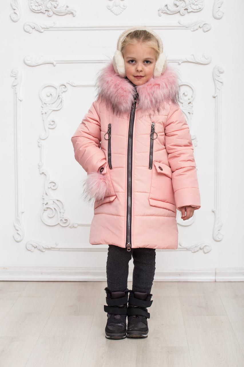 Зимове пальто на дівчинку, пудровое, 146