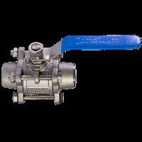 Кран шаровой трехсоставной приварной нержавеющий с площадкой / шар-нж сталь 304 / PTFE / PN40 ДУ 32