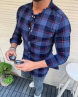 Мужская летняя классическая рубашка синяя в креточку