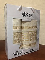 Полотенца банные комплект 50х90 и 70х140 цвет белый Moz