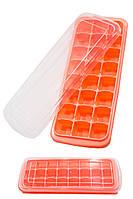 Силиконовая форма для  кубиков льда с пластиковой крышкой