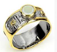 Яркое авторское  кольцо. Благородный опал в серебре с черным родием