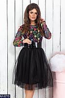 Цветное расклешенное платье под поясом юбка из фатина арт 470
