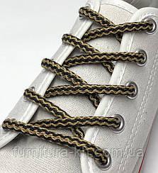 Шнурок Простой Круглый.Длинна 1 метр цвет Бежево-Черный (толщина 5 мм)