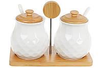 Набор (2шт) банок 300мл для сыпучих продуктов с ложками на бамбуковой подставке Naturel, 20см BonaDi 289-332