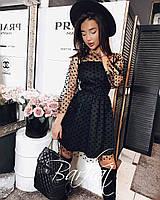 Женское платье черное Креп Дайвинг+Фатин Флок, 42-44,44-46 , код 0497, фото 1