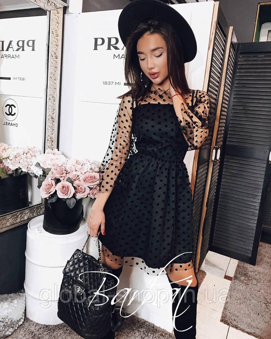 Женское платье черное Креп Дайвинг+Фатин Флок, 42-44,44-46 , код 0497