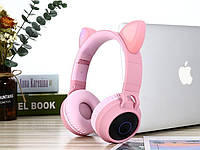 Bluetooth наушники  кошачьими ушками детская гарнитура с поддержкой microSD розовая