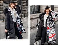 Женская двусторонняя зимняя куртка парка с принтом капюшон с мехом р.44-46, фото 1