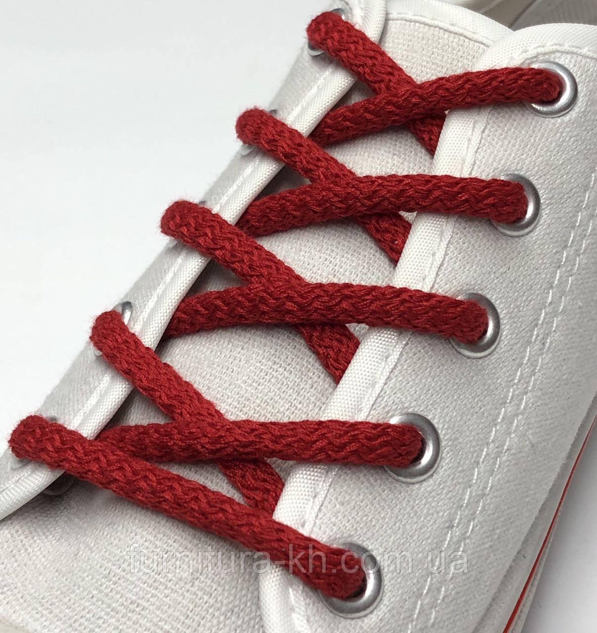Шнурок Простой Круглый.Длинна 1 метр цвет Красный (толщина 5 мм)