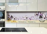 Кухонный фартук Нежная магнолия (фотопечать для кухонной стеновой панели фиолетовые цветы 3Д)