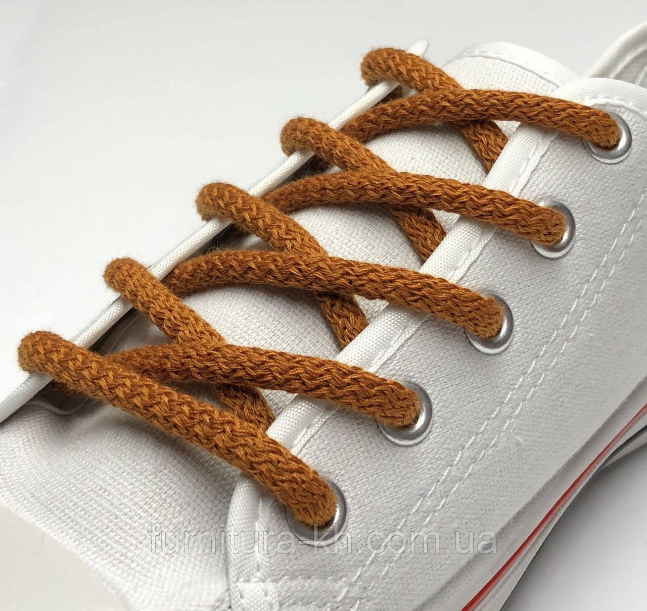 Шнурок Простой Круглый.Длинна 1,2 метр цвет Рыжий (толщина 5 мм)