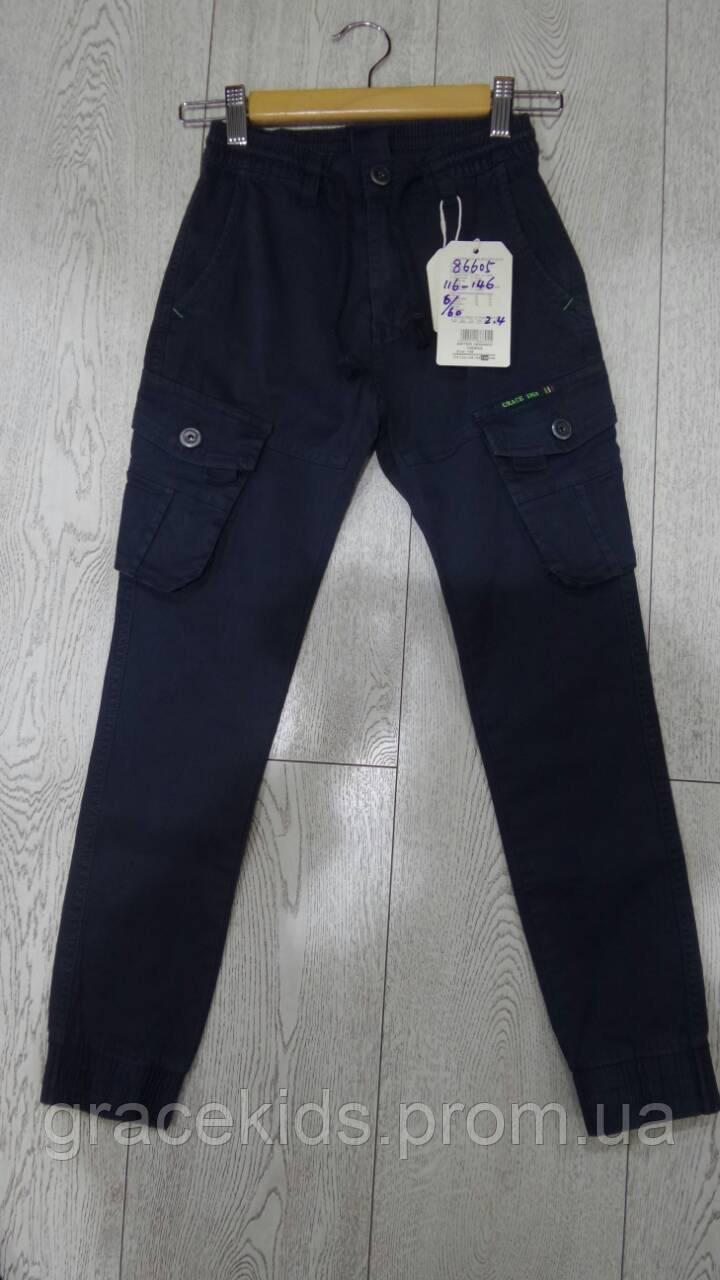 Детские котоновые брюки на манжете с накладными карманами GRACE,разм 116-146 см