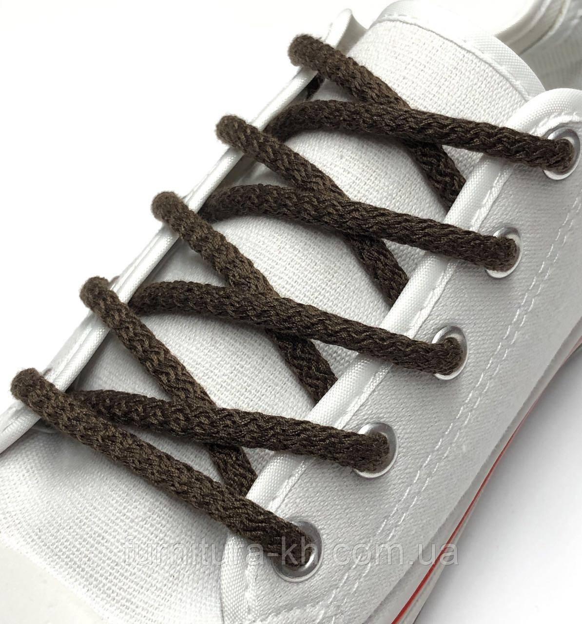 Шнурок Простой Круглый.Длинна 1,2 метр цвет Темно Коричневый (толщина 5 мм)