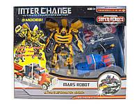 Трансформер 4096 2шт (20см, 16см), робот+машинка, оружие, в кор-ке