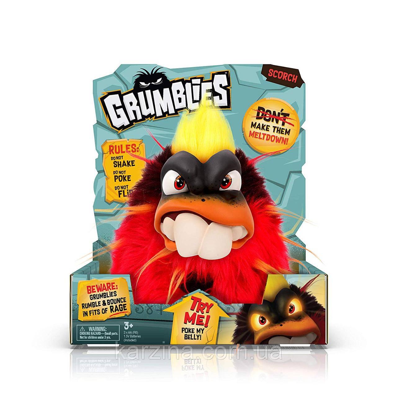 Интерактивная игрушка Grumblies Scorch Red Вулкан Скорч красный от Pomsies светятся глаза