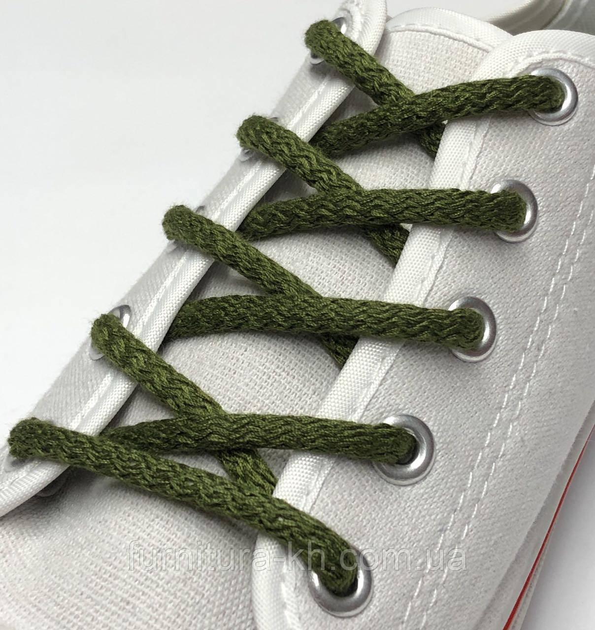 Шнурок Простой Круглый.Длинна 1,2 метр цвет Хаки (толщина 5 мм)
