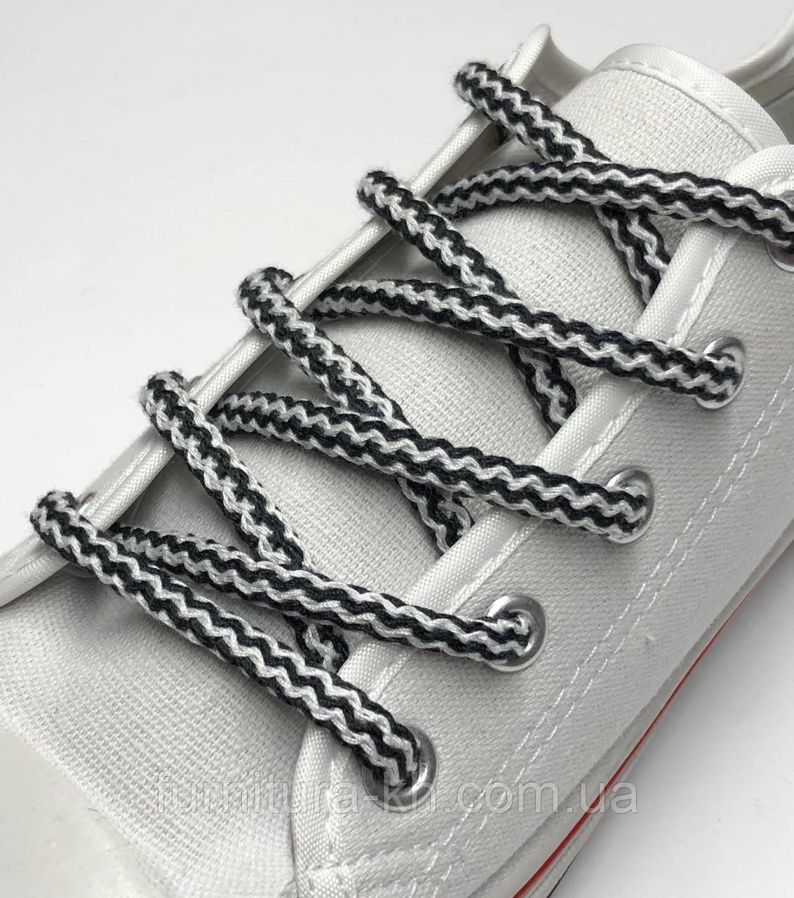 Шнурок Простой Круглый.Длинна 1,2 метр цвет Черно Белый (толщина 5 мм)