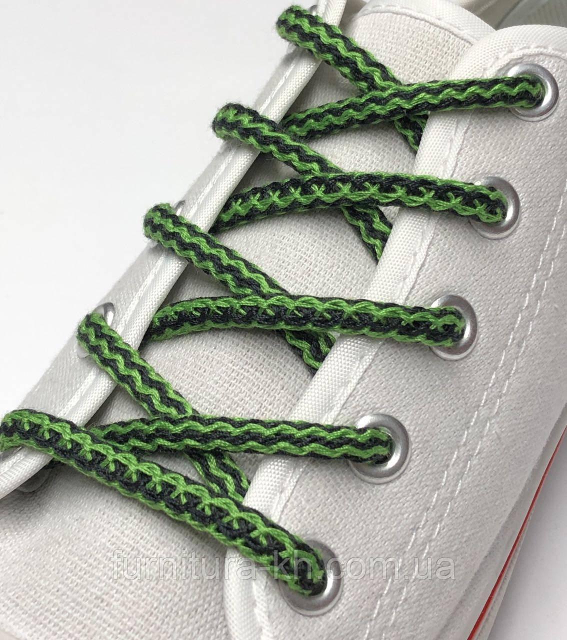Шнурок Простой Круглый.Длинна 1,2 метр цвет Черно Зеленый (толщина 5 мм)