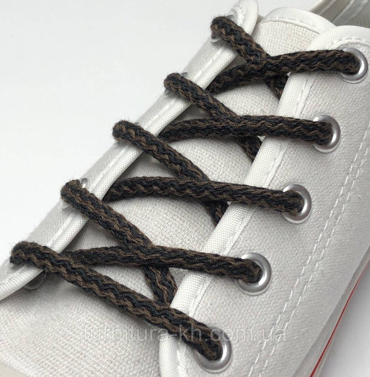 Шнурок Простой Круглый.Длинна 1 метр цвет Черно Коричневый (толщина 5 мм)