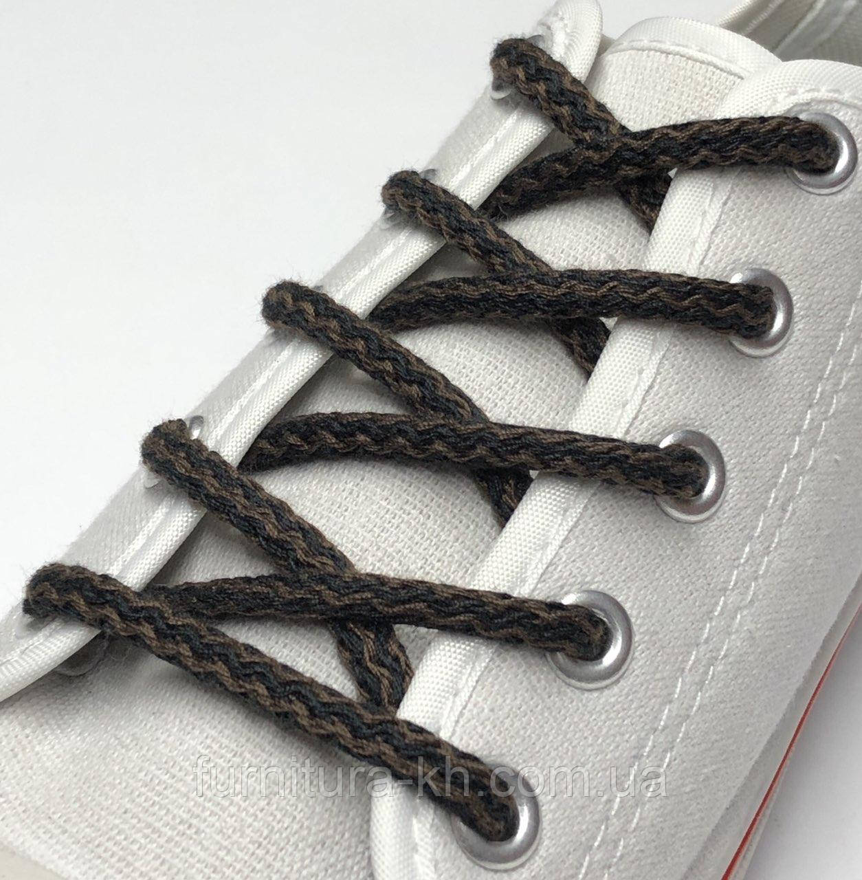 Шнурок Простой Круглый.Длинна 1,2 метр цвет Черно Коричневый (толщина 5 мм)
