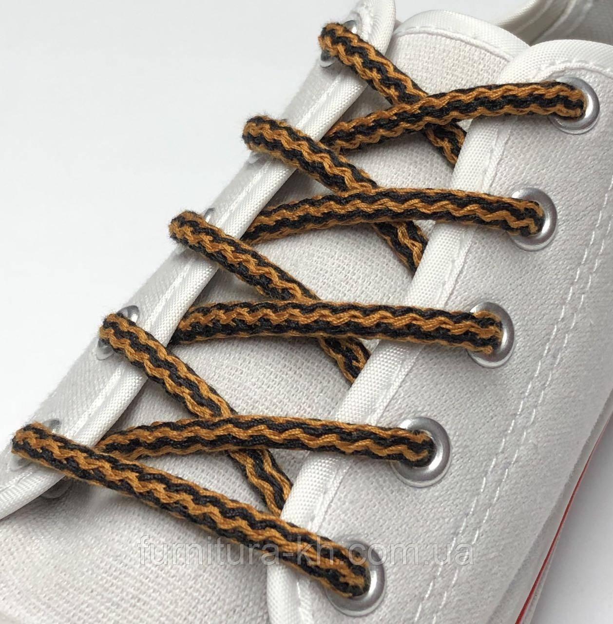 Шнурок Простой Круглый.Длинна 1,2 метр цвет Черно Рыжий (толщина 5 мм)