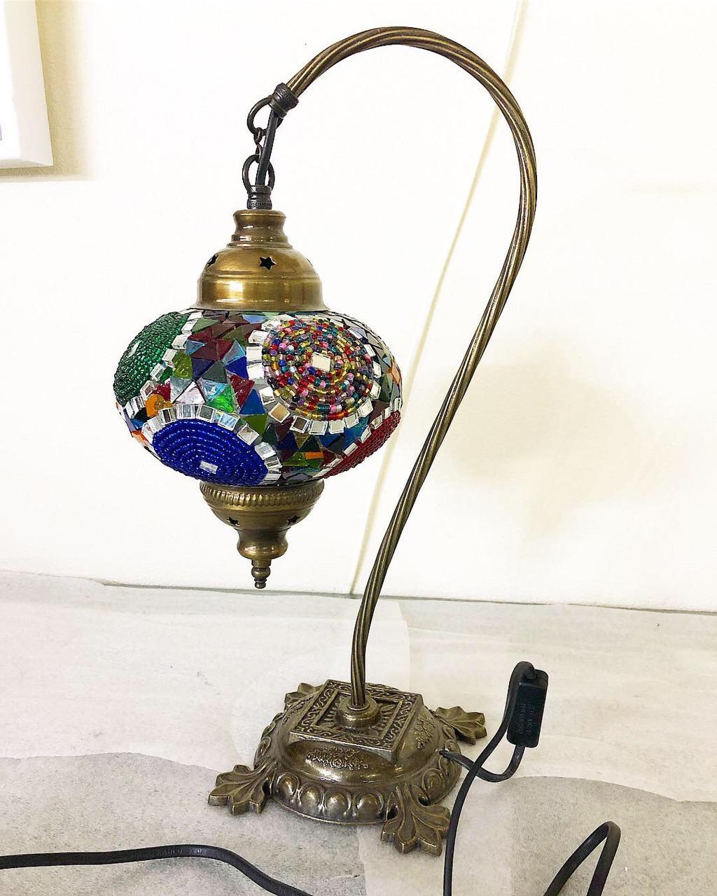 Настольный изогнутый турецкий светильник кэмэл  Sinan из мозаики ручной работы цветной2