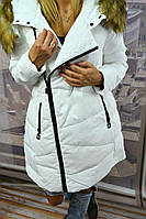 Белый женский мега модный пуховик