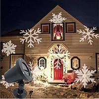 Новогодний уличный лазерный проектор Белые Снежинки