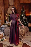 Длинное блестящее платье в пол цвета марсала с коротким рукавом (L, XL)
