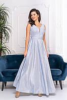 Нарядное серебристое платье в пол с глубоким декольте (L)