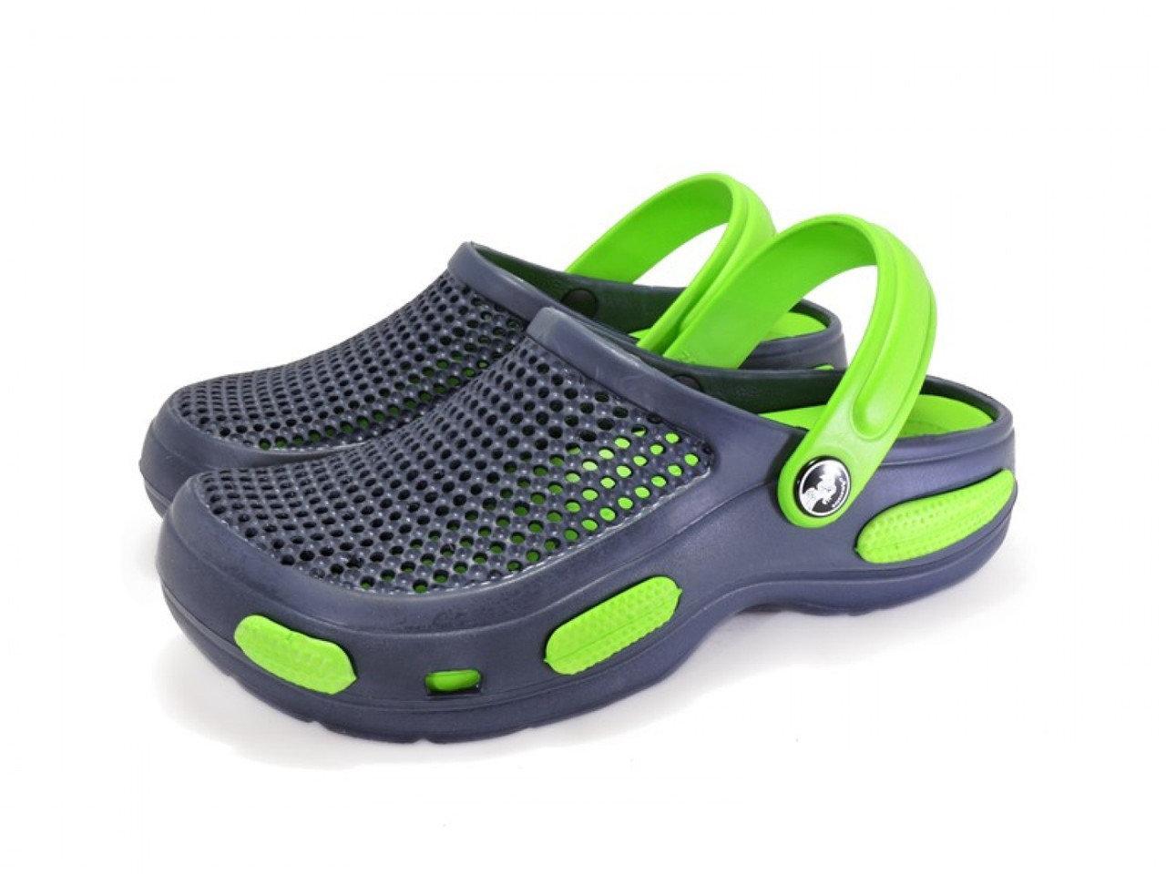 Легкие кроксы из пены ЭВА, шлепанцы сабо синие с зеленым.