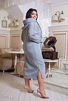 Стильное модное теплое платье с капюшоном ,карман кенгуру  из турецкой трехнити серого цвета.