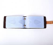 Кожаная визитница Viza унисекс коричневая, фото 2
